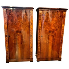 Pair of Biedermeier Armoires, Convex Doors, Walnut Veneer, Austria circa 1830