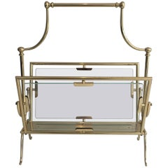 French Brass Magazine Rack with Glass Panels