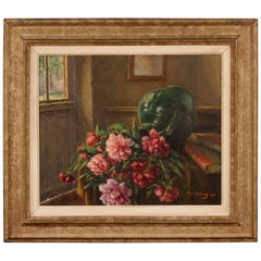 Italian Still Life Signed and Dated Oil on Masonite Painting from 20th Century