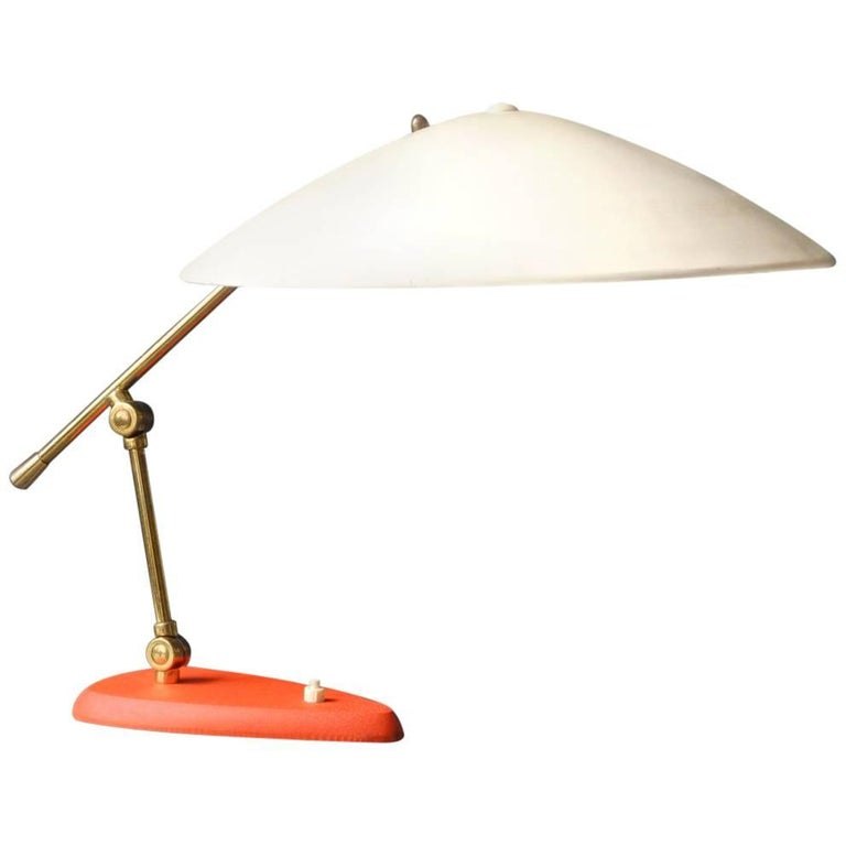 Large Mid-Century Modern Italian Metal Table Lamp with Two Joints