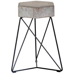 """Urbe"" Contemporary Stool in Concrete and Steel, Brazilian Design"
