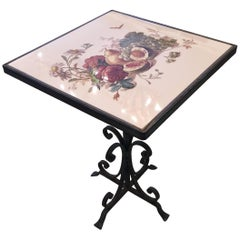 Charming Painted Tile Little Square Drinks Side Table