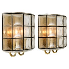 Pair of Iron and Bubble Glass Sconces Wall Lamps by Limburg Germany, 1960