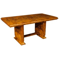 Italian Dining Table in Burl Walnut Wood in Art Deco Style from 20th Century