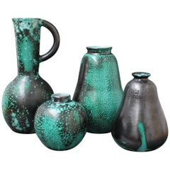 Set of Four Green Ceramic Vases by Primavera, circa 1930s