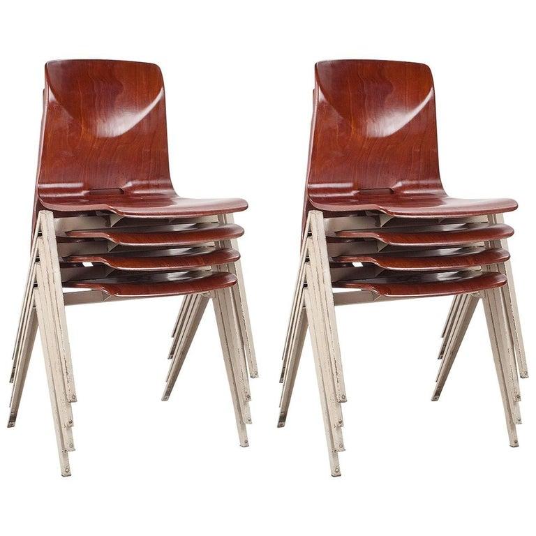 Industrial Set of Eight Galvanitas Plywood and Metal School Chairs, 1960s