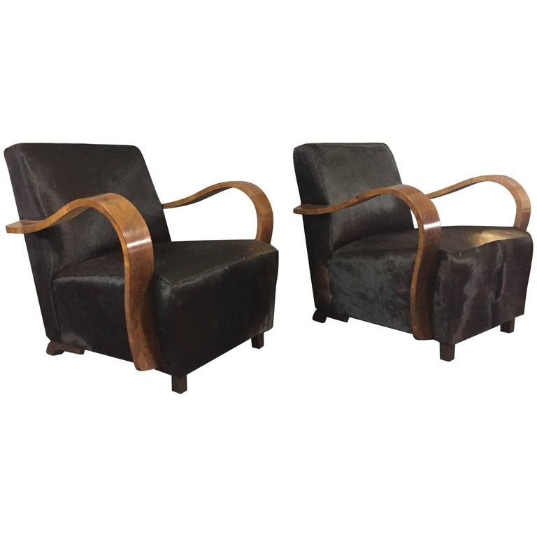 Pair of 1930s Austrian Art Deco Lounge Chairs, Black Hide Covers
