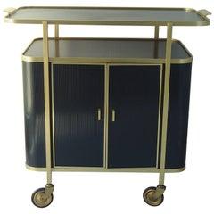 Mid-Century Modern Bar Trolley Black Aluminium Gold and Red Inside