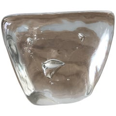 Murano Clear Glass Paperweight with Bubble Inclusions