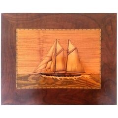 Wood Marquetry Plaque of a Two-Masted Schooner, Signed B. Frank Ibach, July 1936