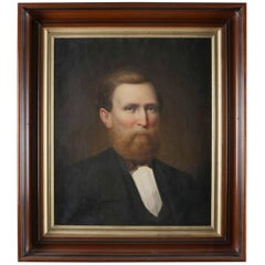 Antique Oil on Canvas Portrait Painting of Businessman in Formal Attire