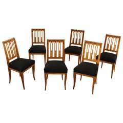 Set of Six Biedermeier Dining Chairs, Garland Inlays, South Germany, circa 1820
