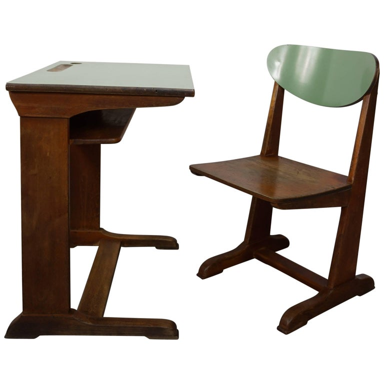 1960s Child Wooden Desk and Matching Chair by Casala