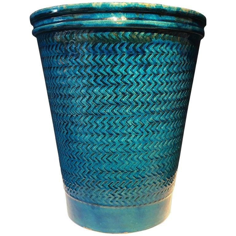 Nils Kähler Blue Glazed Stoneware Vase For Sale