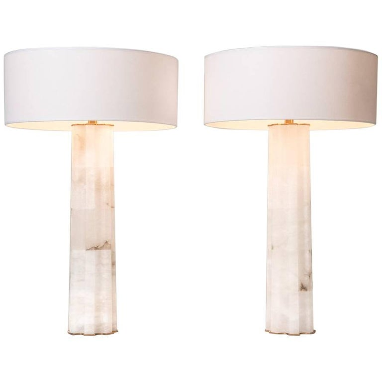 Unique Pair of Alabaster Table Lamps by Hervé Van Der Straeten