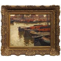 Quiet Harbor Scene, Oil Painting by Dutch Artist Ben Viegers