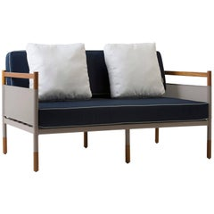 Solid wood, metal and fabrics, sofa, minimalist design for outdoors