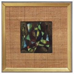 Karl Drerup 1950s Modern Enamel on Copper Frame Artwork