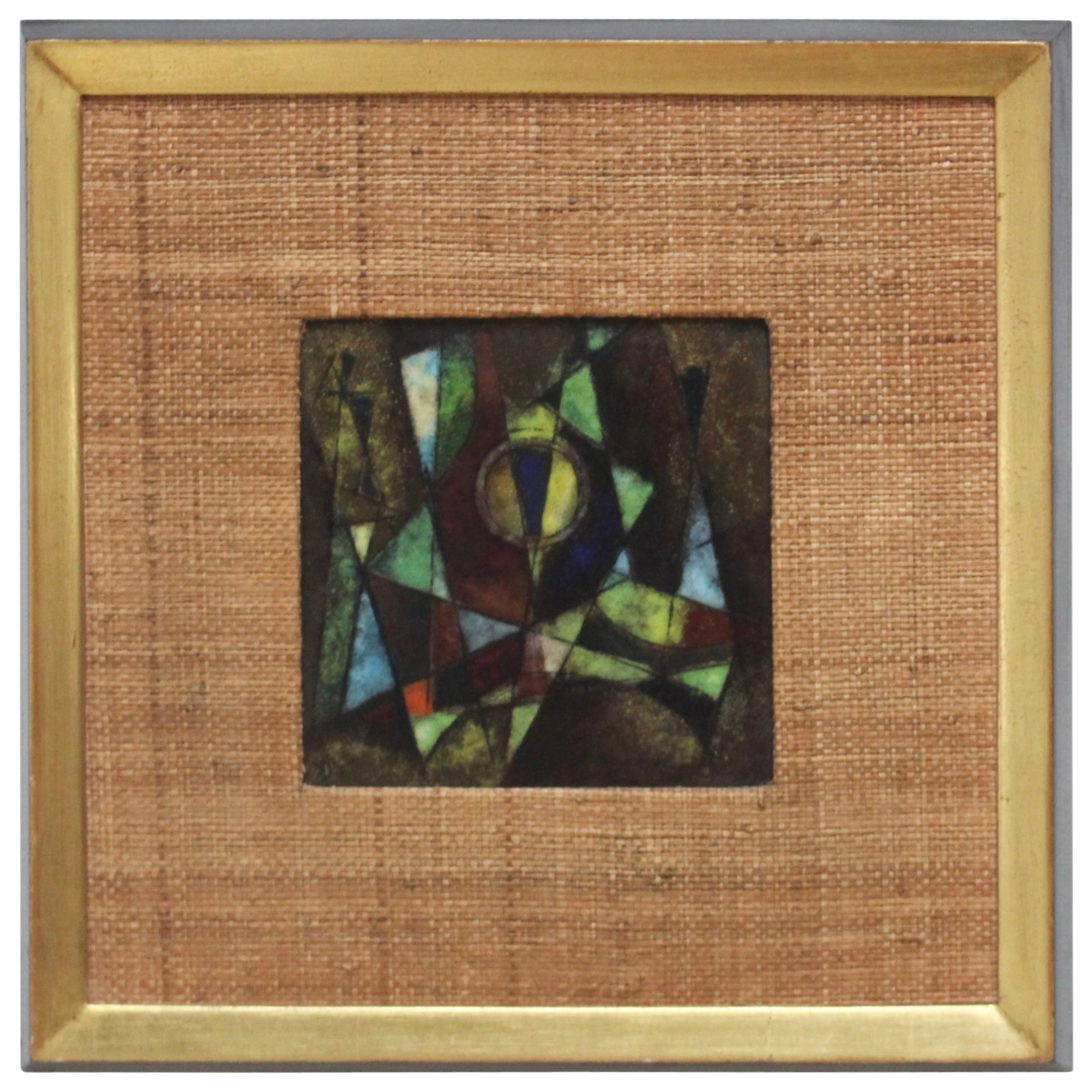 Karl Drerup 1950s Modern Enamel on Copper Frame Artwork
