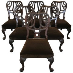 Set of Six Chippendale Style Mahogany Dining Chairs, 20th Century