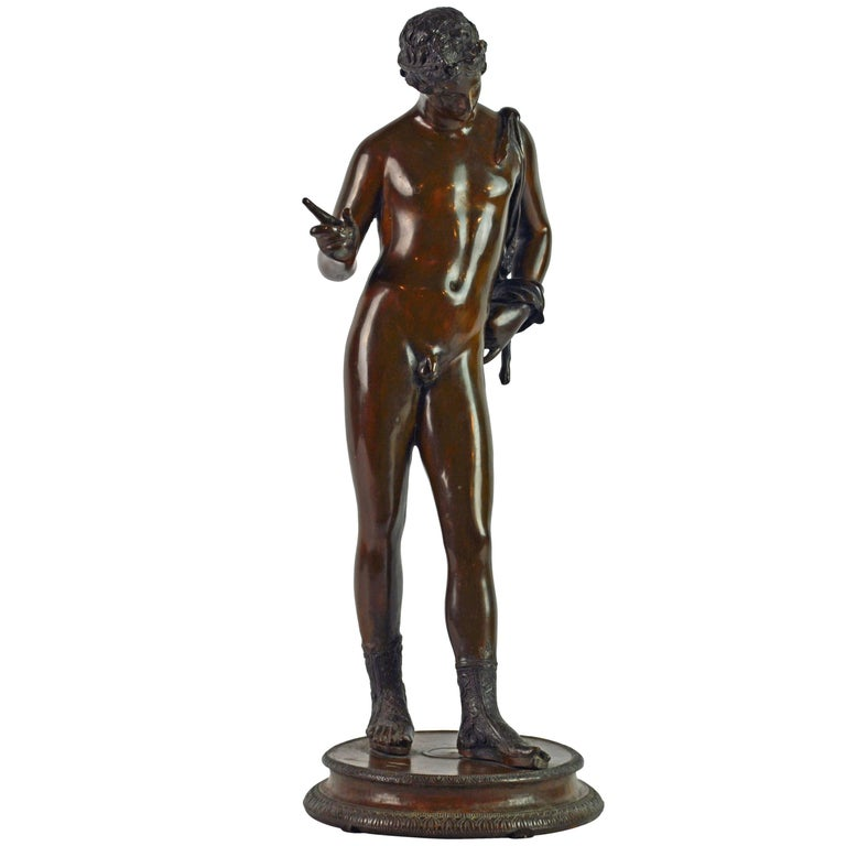 Italian 19th Century Bronze Statue of Antinous with Goatskin after the Antique