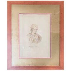 19th Century Watercolor of Emperor Montezuma II by Claudio Linati