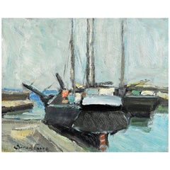 'The Old Boats in Harbor' Original Oil by Carl Berndtsson, Swedish