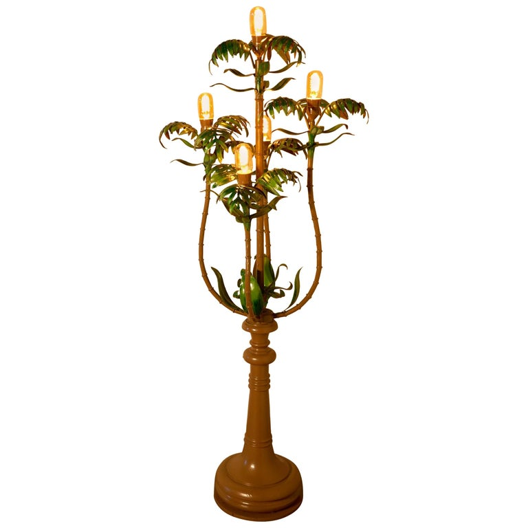 Tall Unusual French Conservatory Painted Toleware Floor Lamp