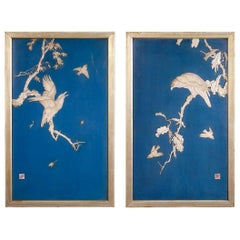 Pair of Japanese Blue Lacquered Panels with Carved Birds in Trees Meiji Period