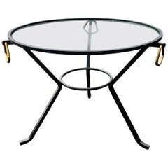 Glass and Metal Round Coffee Table in the Manner of Jacques Adnet