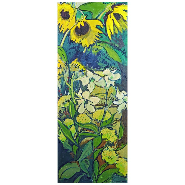 'Sunflowers in the Garden' Tall Midcentury Oil Painting by Hildegard Rath