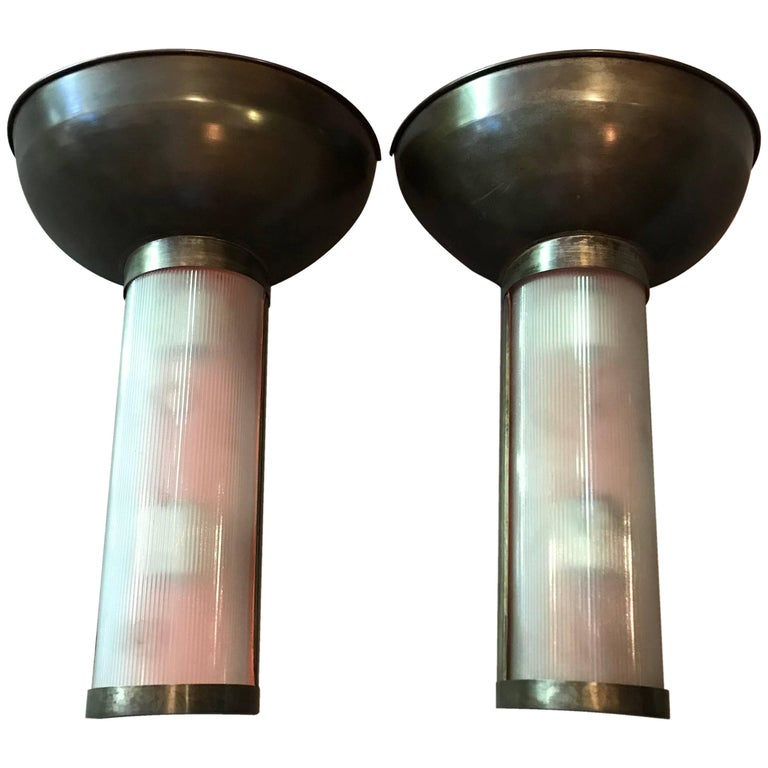 Pair of Gunmetal Steel and Glass Art Deco Torch Wall Sconces