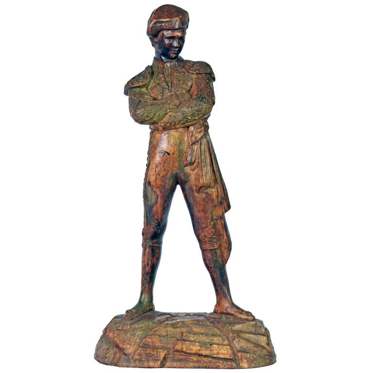 'El Cordobes' Large Patinated Terracotta Statue of the Legendary Spanish Matador For Sale