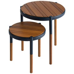 Solid wood and metal, round side table, minimalist design for outdoors
