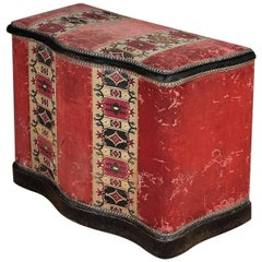 Large Upholstered Victorian Lidded Box Seat or Blanket Chest
