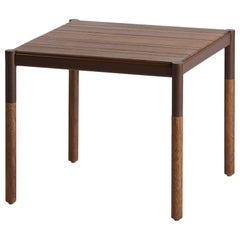 Solid wood and metal, side table, minimalist design for outdoors
