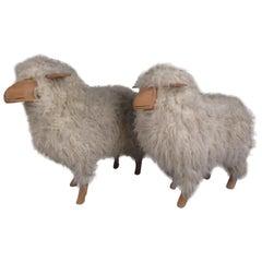 Pair of Vintage Sheep Skin Lamb Sculptures