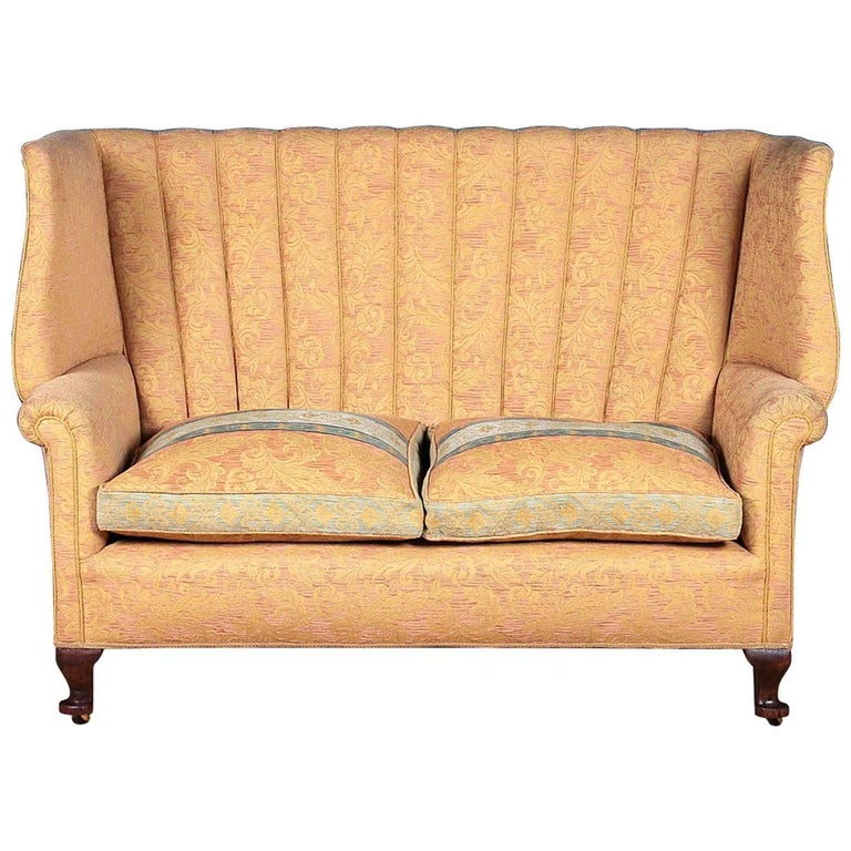 Queen Anne Style Wingback Settee, circa 1920