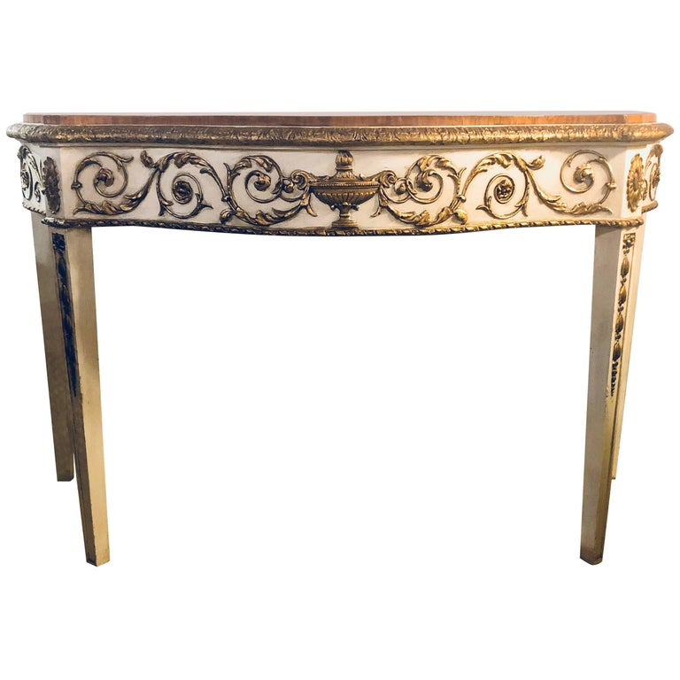 Painted Console or Demilune Table Fine Wood Top Louis XV Style by Maison Jansen
