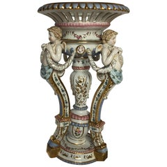 Large Baroque Style Porcelain Centerpiece, Large Hand-Painted Cherub Epergne