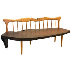 Striking Handcrafted Long Bench in the Style of Nakashima