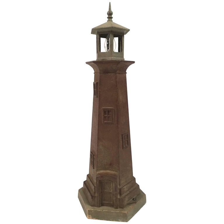Vintage Cast Metal Lighthouse Lamp At 1stdibs