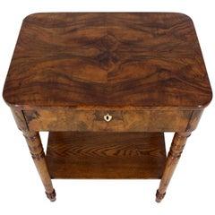 19th Century Biedermeier Burl Walnut One Drawer Sewing Stand Table