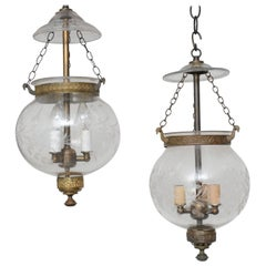 Pair of Late 19th Century English, Blown Glass Globes with Vine Etching