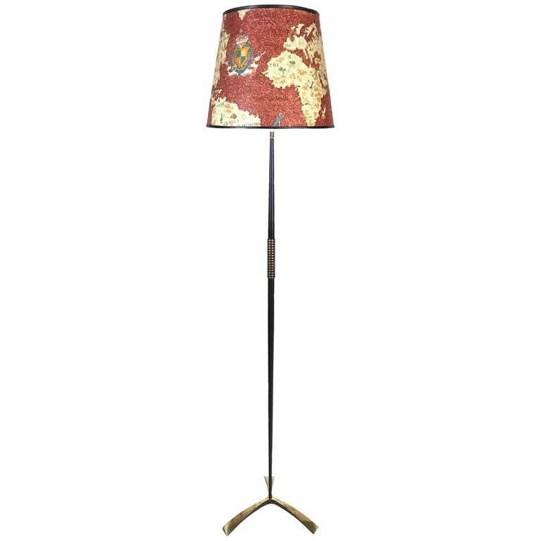 Midcentury J.T. Kalmar Brass Tripod Floor Lamp, World Map Shade, 1950s, Austria