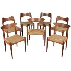 Set of Seven Dining Chairs by Arne Hovmand Olsen for Mogens Kold