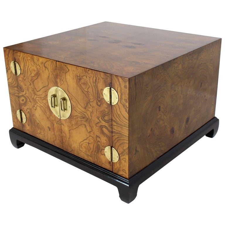 Burl Walnut Black Lacquer Base Brass Hardware Cube Shape End Table Stand Cabinet