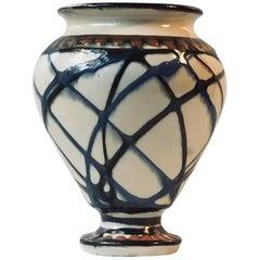Danish Art Deco Pottery Vase with Swirl Glazes by Herman August Kähler, 1920s