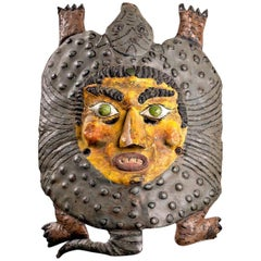 Mexican Copper Dance Festival Mask with Armadillo