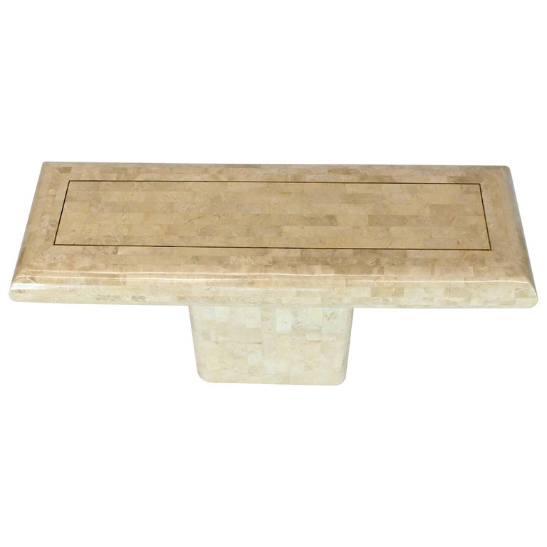 Maitland-Smith Tessellated Stone Veneers with Single Pedestal Console